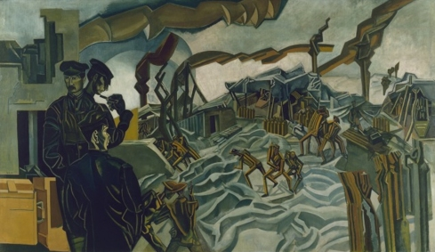 Percy Wyndham Lewis - A Battery Shelled - 1919