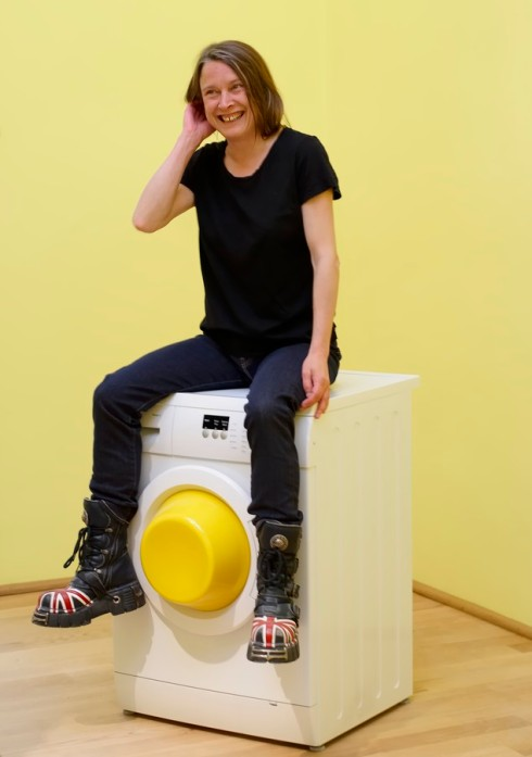 British artist Sarah Lucas prepares for an interview inside the British pavilion displaying her installations 'I scream daddio' during the 56th Biennale of Arts in Venice, Tuesday, May 5, 2015. (AP Photo/Domenico Stinellis)